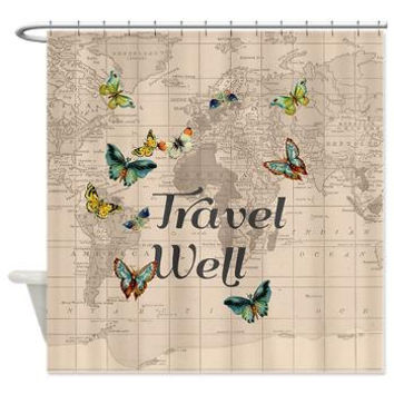 Travel Well Quote Shower curtain with from Mapology on Etsy