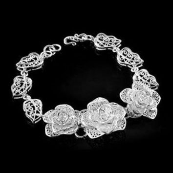 Vintage 925 Sterling Silver Filigree Carved Flower Chain Charms Bracelet Bangle