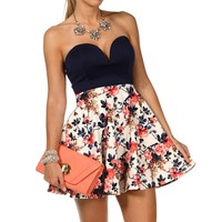 Navy/Iv/Red Strapless Short Dress