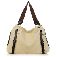 Oversized Buckle Casual Canvas Shoulder Bag Carryall Handbag