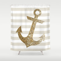 GLITTER ANCHOR IN GOLD Shower Curtain by colorstudio