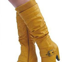 Mustard Women Boots Knee High Mid-Heels Women Riding,Equestrian Boots Size 8 on eBay!
