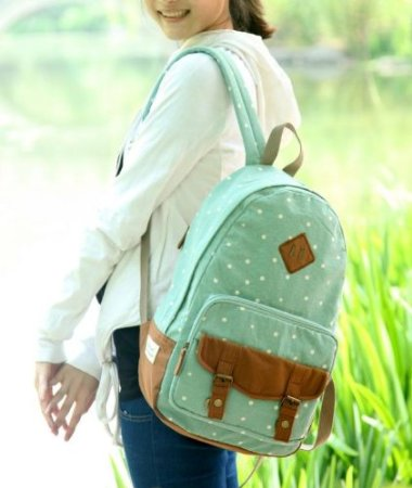 Gaokong Gk-172 School Backpack Girl Backpack Canvas Backpack (Navy,mintgreen,red)
