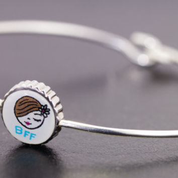 Best friend bracelet, sterling silver bangle, gifts for teens, friendship bracelet, BFF bangle, gifts under 20, tiny bangle, girls bangle