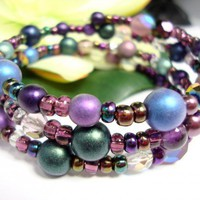 Bracelet Memory Wire 3 Strand Purple Green Blue Small To Large Wrist | PinkCloudsAndAngels - Jewelry on ArtFire