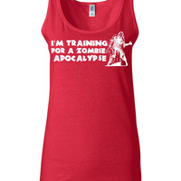 Funny Crossfit Shirt - I'm Training For A Zombie Apocalypse  - Work Out Tank Tops for Women