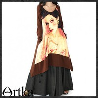 New spring oversized avatar asymmetric hem Long T shirt A08983 | ArtkaFashion - Clothing on ArtFire