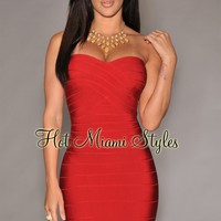 Red Strapless Bandage Dress