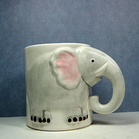 Elephant Mug Head &amp; Trunk Handle Enesco Pottery by CoconutRoad