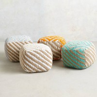 Small Diamond-Weave Pouf