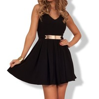 A Line Fit-n-Flare Cocktail Day Night Lined Ponte Belted Gold Dress