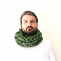 Neckwarmer Or Cowl Green Crocheted, Unisex | Luulla