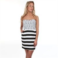 Mystic Juniors Dotted Lace Bodice Dress with Striped Skirt at Von Maur