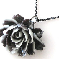 flower necklace, black rose necklace in black and gray by KriyaDesign