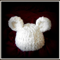 baby hats  white baby bear hat  newborn by crochetedcuddles
