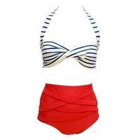 Red RETRO Pinup Rockabilly Vintage High Waist Bikini Swimsuit Swimwear S,M,L,XL