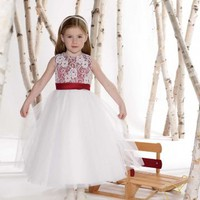 Elegant Ball Gown Scoop Organza Flower Girl Dresses Wedding Party Dresses With Applique And Sash