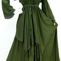 GREEN/DRESS-PEASANT-LAYER MADE 2 ORDER L XL 1X 2X-H007 | lotustraders - Clothing on ArtFire