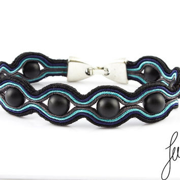 Unique, mens soutache bracelet, handcrafted with glass beads, black, grey, blue, navy
