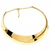 Becky's Shiny Gold Double Strand Choker Style Necklace - Fantasy Jewelry Box