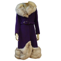 Spectacular Mod 60s Purple Wool Coat w/ Lush Fox Trim