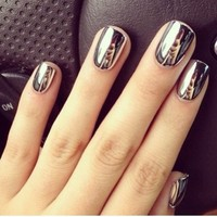 2* Fashion Super Star Nail Art Polish Gold and Silver Metallic Foil Sticker Patch Wraps Tips 32 Pcs for Women Girls Wife