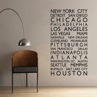 Wall Decal Vinyl Sticker Decals Art Decor Design New York City USA Gift NY Chicago Custom Name Map Traver Living Room Bedroom (r644)