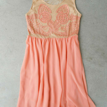 Desert Peach Dress [5533] - $36.00 : Vintage Inspired Clothing & Affordable Dresses, deloom | Modern. Vintage. Crafted.