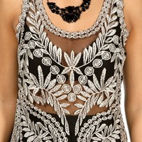 Promo-BlackGold Crochet Sleeveless Tank Top