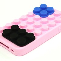 iPhone 4 4S Rubber 3D Lego Toy Brick Block Soft Silicone Case Cover Light Pink | eBay