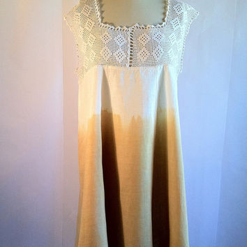 Vintage Crochet Dip Dye Swing Dress