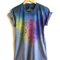 "The Original ""Splash Dyed"" Hand PAINTED Scoop Neck Pinned Rolled Cuffs Tee in Heather Grey Spectrum Rainbow - Women's S M L XL 2XL 3XL"
