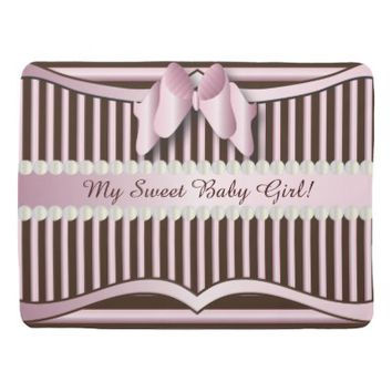 Baby Blanket- Classy Pink and Brown Striped Design