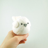 Kids White Bird Stuffed Animal Handmade Plush Toy by bubbletime