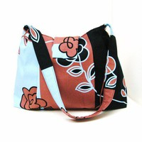 Shoulder Bag Isso Ecco Flowers and Stripes in Brown by LMcreation