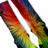 Sunburst Lebron 11 Fast Shipping!! Nike Elite Socks Customized Lebron 11 Rainbow