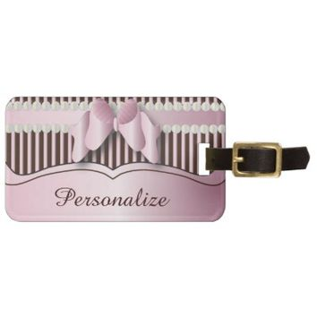 Luggage Tag- Classy Pink and Brown Striped Design