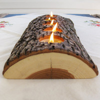 5 tealight wood candle holder low lying by BlisscraftandBrazen