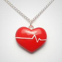 Beating Heart Necklace - Polymer Clay Valentines Day Romantic Jewelry | PixieHearts - Jewelry on ArtFire