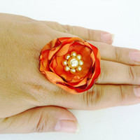 Fabric Flower Ring, Adjustable Orange Cocktail Ring, ShabVintique Flowers, Gifts under 15