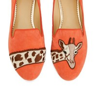 Women's Suede Slippers - Giraffe Suede Smoking Slipper | C. Wonder