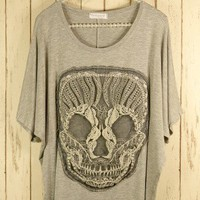 Lace Skull T-Shirt in Grey by Chic+ - New Arrivals - Retro, Indie and Unique Fashion