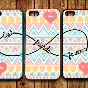 3 iPhone 5/5S, iPhone 5c, iPhone 4 4s, Samsung Galaxy S3 S4 cases Monogram Best friends Forever BFF Infinity personalized Protective Cases