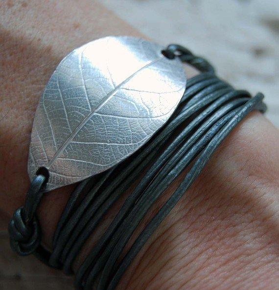 Fine Silver leaf Leather Bracelet/Necklacefall by KDjewelry1
