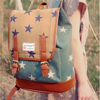 Women's Preppy Look Vintage Star Pattern Casual Backpack Laptop Bag