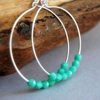Ho'olana earrings  bright turquoise blue glass by kealohajewelry