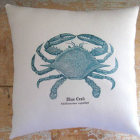 Beach Pillow Crab Blue Crab Beach Decor by parismarketplace
