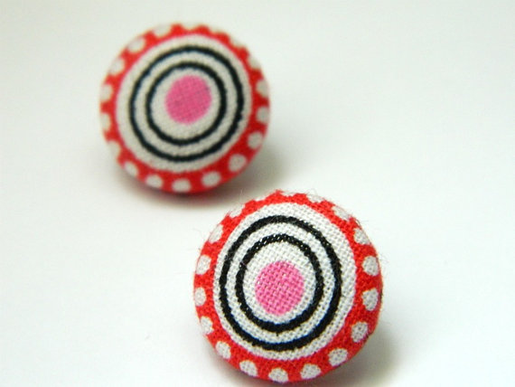 Button Earrings Red Pink Black Circles Unique by PushTheButtons