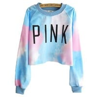 Harajuku Style Tie-dye Gradient Color Long-sleeved Sweater (blue)