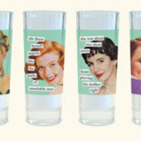 Anne Taintor Shot Glasses: why yes, I am that kind of girl - set of 4